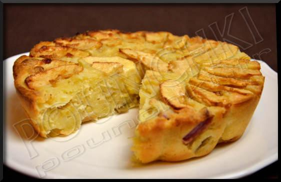 gâteau pommes et rhubarbe