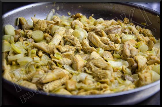 poêlée d'endives au poulet et champignons - pounchki